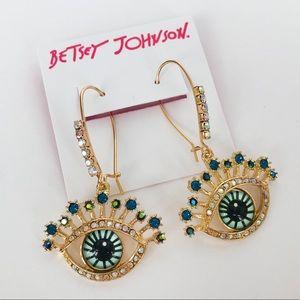 Betsey Johnson Evil Eye Dangle Earrings
